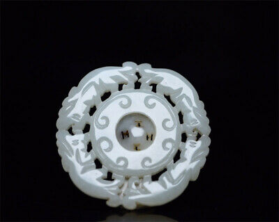 """2.01""""China 100%natural Hetian Nephrite jade Hand-carved beast hollow out Pendant"""