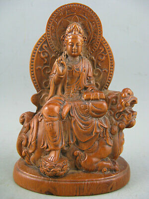 Antique Chinese Old Boxwood Hand Carved KwanYin Lion Statue