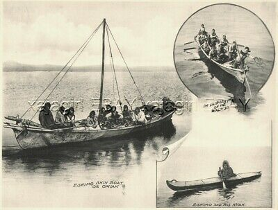 ALASKA Eskimo Native American Kayaks, c1914 Antique Collotype Print
