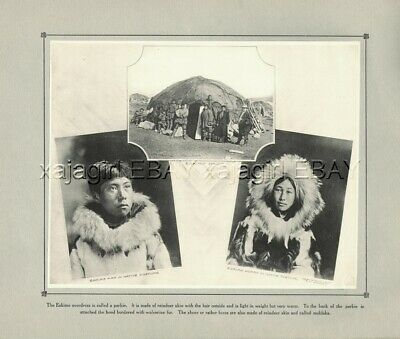 ALASKA Eskimo Native American Portraits, c1914 Antique Collotype Print