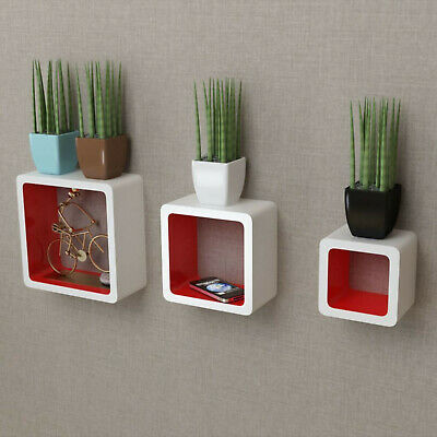 Floating Wall Display Shelf Cube Design Walls Shelves Storage White Red 3 Pack