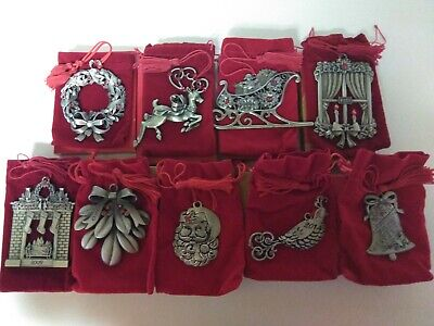 Lot 9 Vintage AVON Pewter CHRISTMAS Tree Ornaments Red Rhinestones Pouch and Box