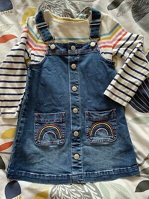 Boden Rainbow Denim Pinafore Dress And Striped Top. Girls 4-5 Years.