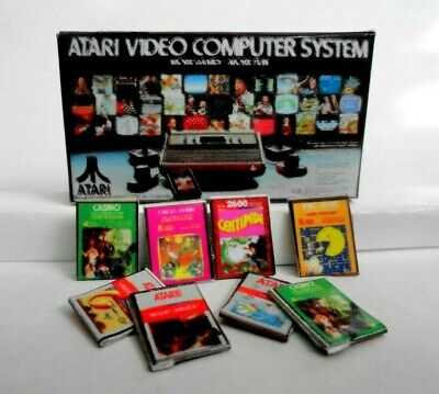 Miniature 1:12 scale classic ATARI 2600 Video Game System with 8 GAMES TOY BOX