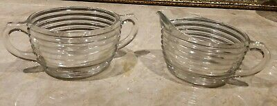 Creamer and Sugar Bowl Vintage Clear Depression Glass Manhattan Oval Set Ribbed