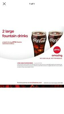 AMC Theatres 2 Large Fountain Drinks - Exp 6/30/2020 E Ticket Sent Fast!