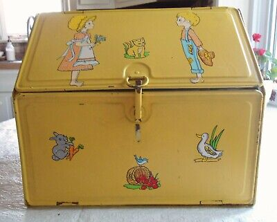 VINTAGE RETRO 1950's YELLOW BREAD BOX PIE SAFE TIN METAL DOUBLE DOORS DECALS