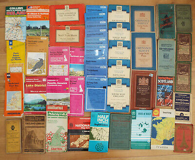 Job lot 42 vintage maps,ordnance survey,Michelin,Bartholomew,AA,Philips,Shell