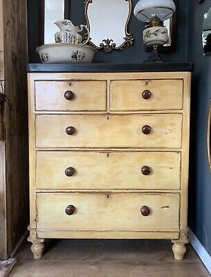 "Beautiful Victorian Mahogany ""French Painted""  Mustard Ochre Chest Of Drawers"