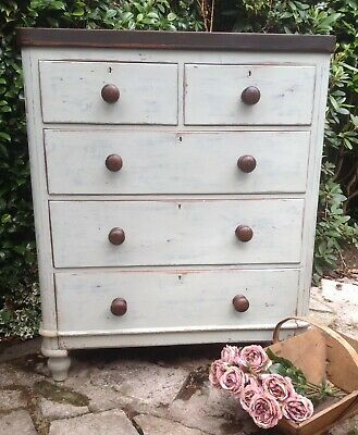 "Beautiful Victorian Mahogany ""French Painted""  Duck Egg Blue Chest Of Drawers"