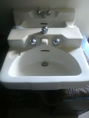 Antique 1950 Crane Drexel / Oxford off white Bathroom Sinks w/Original Faucets