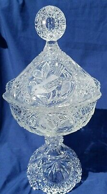 """Large Vintage Pressed Glass Saw Tooth Pedistal Candy Dish Etched Birds Cut 14"""""""