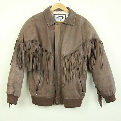 Vintage 80s Fox Run Brown Leather Fringe Bomber Jacket Western M Puff Lining