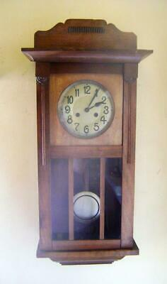 1930s German Walnut Cased Wall Clock: Strikes Hours & Half Hours on a Gong