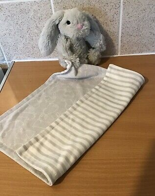 Primark Early Days Bunny Rabbit Grey Striped Blankie Comforter