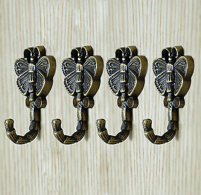 Lot of 4 pcs Solid Brass Vintage WASP BEE Hat Coat Antique Wall Mount HOOKS