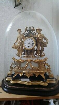 Large Figural Mantel Clock On White Marble/Wooden Stand/Plinth Under Glass Dome