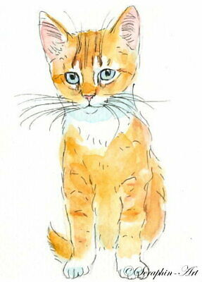 Original ACEO Watercolor Painting Ginger Tabby Cat Kitten Miniature Seraphin-Art