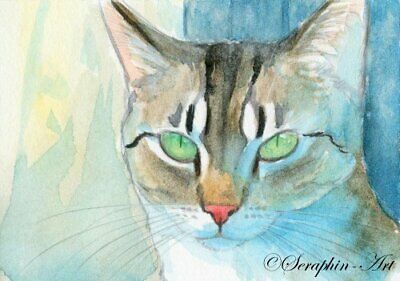 Original ACEO Watercolor Painting Tabby Cat Cute Little Kitten Seraphin-Art