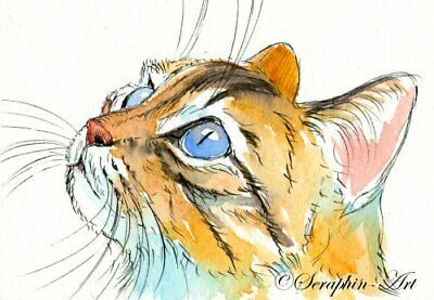 Cute Tabby Cat Original ACEO Watercolor Painting Kitten Miniature Seraphin-Art
