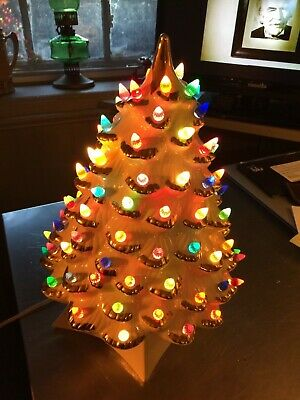 Vintage 1969 White & Gold Ceramic Christmas Tree With Lights MCM