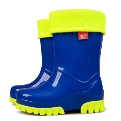 Blue Kids Boys Girls Wellies Wellington Rainy SnowBoots +FLEECE-LINED Sock