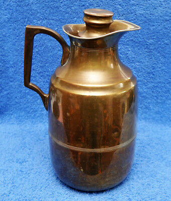 ANTIQUE BRASS THERMOS FLASK No 290 WITH CORK STOPPER MADE IN ENGLAND