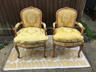 Pair Of French Style Louis XV Walnut Begere Armchairs With Feathered Cushions