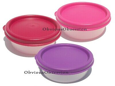 TUPPERWARE Mini Half Snack Giant Smidget  Set of 3 Purple Fuchsia Burgundy New
