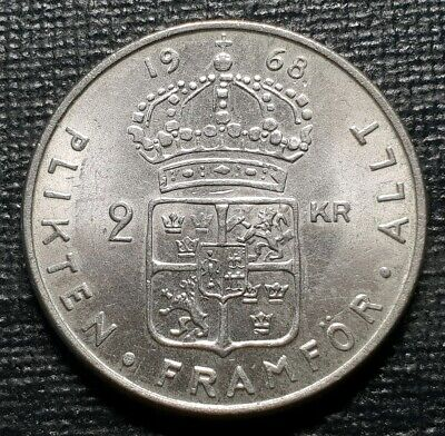Sweden 2 kronor coin 1968