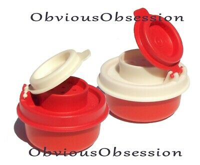 Tupperware Smidgets Salt and Pepper Shakers Set Mini Tiny Bowls Red White New C
