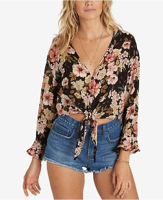 Billabong Today/'s Crush Bell Sleeve Top Twirly Bell Sleeves Mock Neck Tee NWT