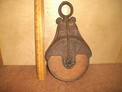 R423  Antique Wood & Cast Iron Barn Pulley Vintage OK Myers
