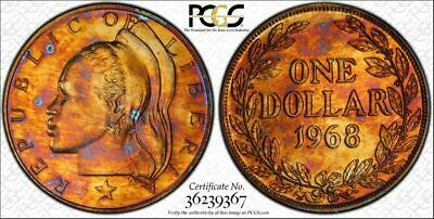 1968 Liberia 1 Dollar Pcgs Pr66 Rainbow Toned Only 4 Coins Graded Higher!