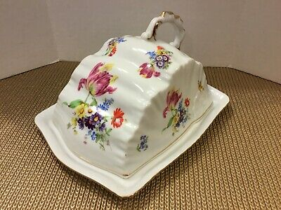 Beautiful Antique Vintage Floral Covered Cheese Dish/Butter Dish
