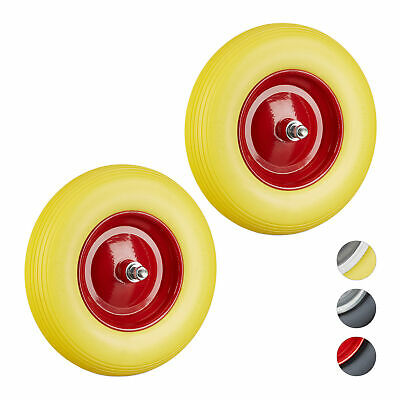 2 x Solid Rubber Wheelbarrow Tyre with Axle, Spare Tire with Steel Rim, Yellow