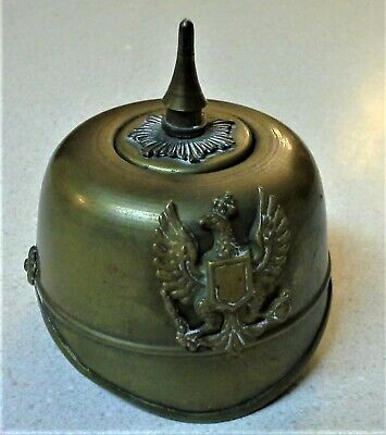 Brass German Ww-1 Pickelhaubes Helmet Ink Well - Nice!