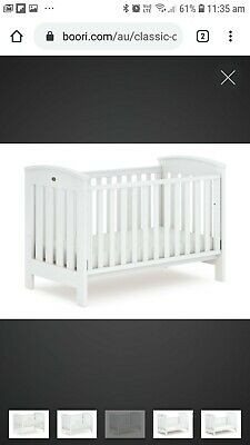 White Boori cot and change table draws