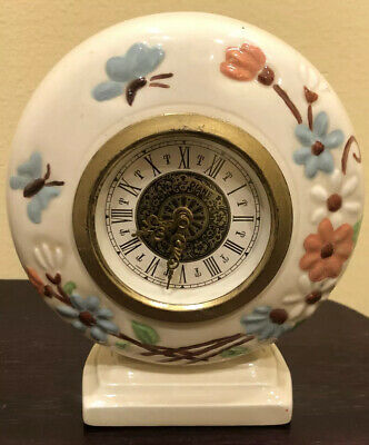 Vintage Ceramic Mantle Wind Up Clock Beige Floral Hand painted Made In Germany