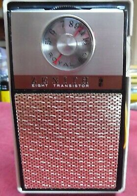 Vintage 1965 Zenith Model #59  8 Transistor Radio, AM/CD, w/Case, Mint!