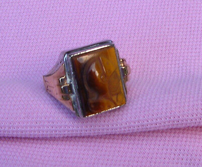 Vintage Antique Art Deco Sterling Silver Gold Roman Soldier Cameo Man Ring siz 8
