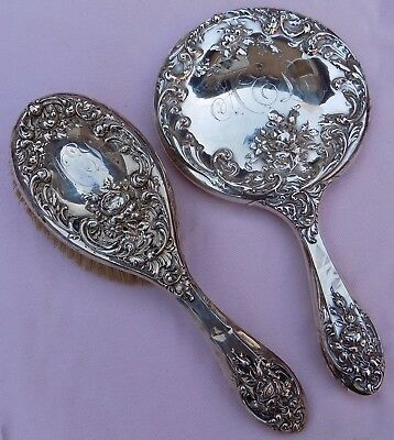 Antique Foster & Bailey Sterling Silver Victorian Hand Mirror Brush Lot Set 1806