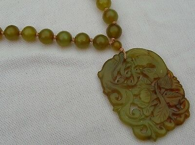 Vintage Antique Art Deco Silver Pierce Carved Chinese Jade Bead Amulet Necklace