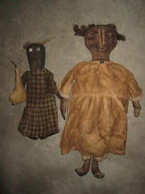 Antique country primitive style black Americana hand made fabric cloth rag dolls