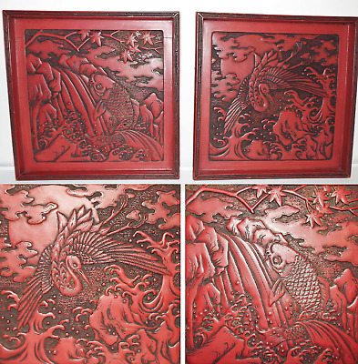 Fine Old Chinese Pair Carved Cinnabar Panels Scholar Work Of Art 18th Century