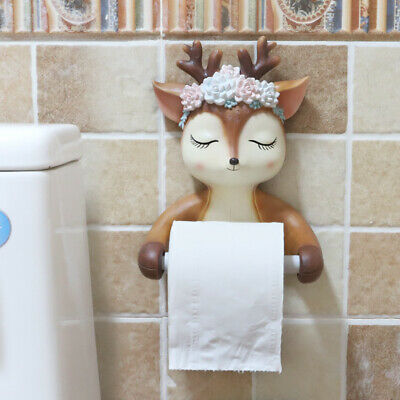 Wall Mounted Deer Bathroom Resin Hanger Toilet Roll Paper Holder Holding Case