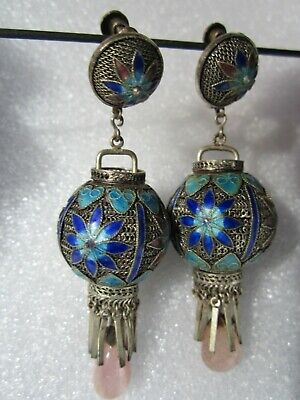 Original Vintage Chinese Silver Filigree Enamel Pink Tourmaline Lantern Earrings