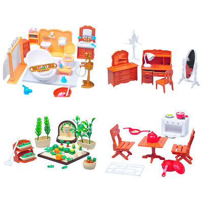 1:12 Dollhouse Miniature Bedroom Bath Living Room Furniture Set Toy Gift Band