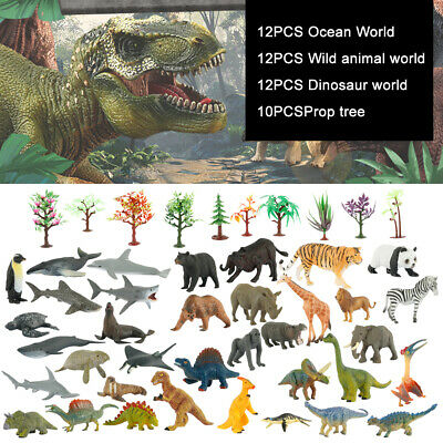 12 Dinosaurs Toy Animals Jurassic Figures Kids Game Play Set T-Rex TRex Plastic