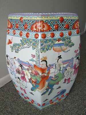 Antique Republic of China Famille Rose Porcelain Six-sided Garden Seat 32 lbs